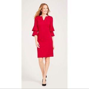 J. McLaughlin letty red bell sleeve dress L